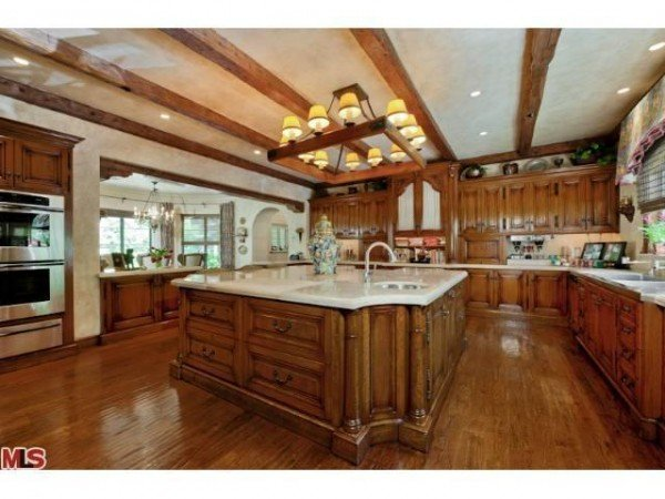extra large kitchen island aguilera s new mansion in beverly 17502