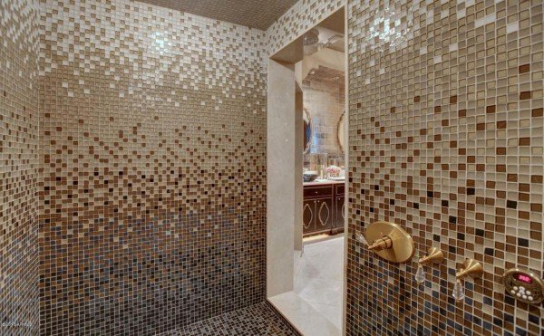 gold tiled Shower stall
