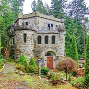 Modern Medieval Castle has a forst, footbridge, and lavish decor