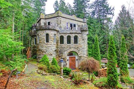 Modern medieval castle has a forest footbridge and for Building a house in washington state