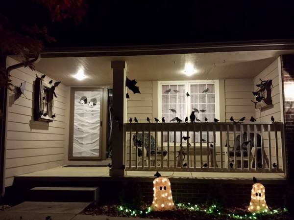 Halloween Decorating Idea - Awesome black birds and bats with a front door covered in gauze that makes a scary ghost