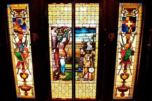 Highlandd Castle stained glass doors