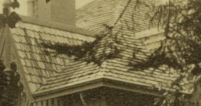 circa 1880 stereoscopic card corner roof shingles of house