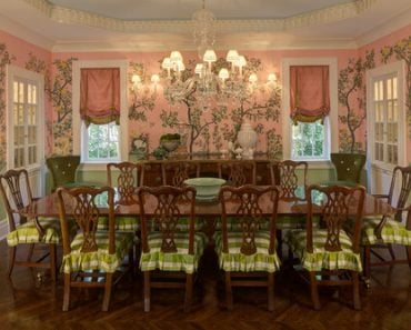pink and green traditional dining room