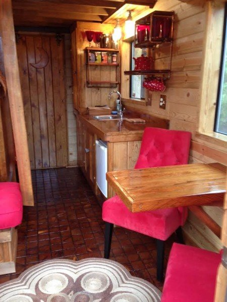 Tiny Houses A Red Caboose kitchen and dining