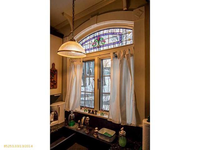 Stained glass window 348 Washington St Bath ME