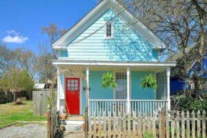 Turquoise house exterior Atlanta, GA