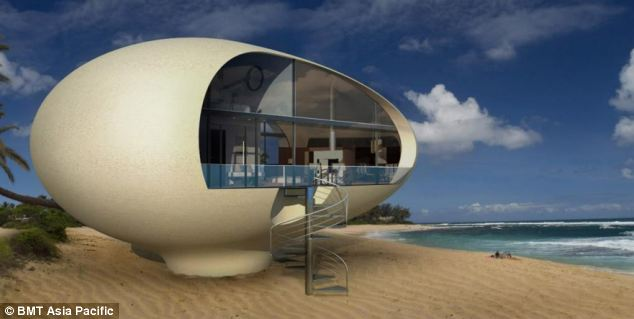 Giant egg-shaped beach house concept idea