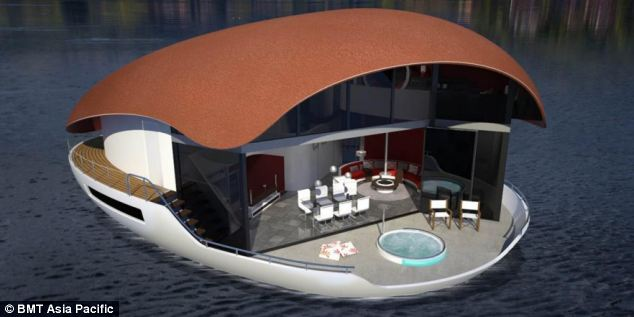Giant egg-shaped houseboat concept
