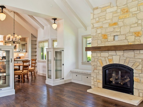 Carmel stone fireplace hand crafted cottage for sale