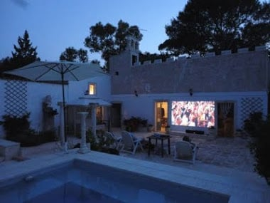 open air cinema in courtyard of Masseria Degli Angeli