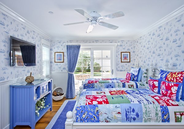 Beachy Blue and white bedroom