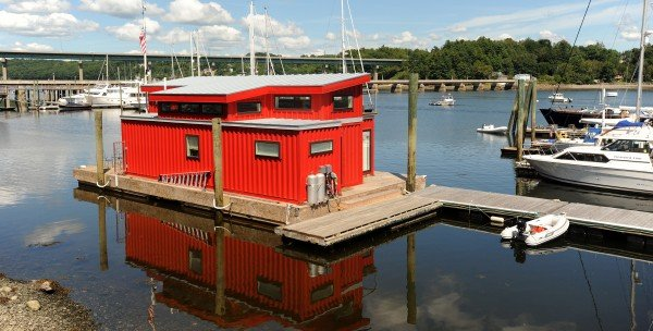 Houseboat recycled from shipping container