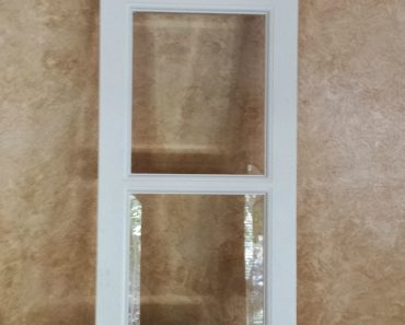French door repurposed into transom window