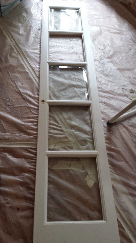 Repurpose french door into transom window