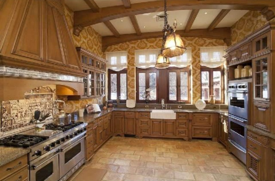 Country kitchen in mansion designed like European Country Estate from the 1800s