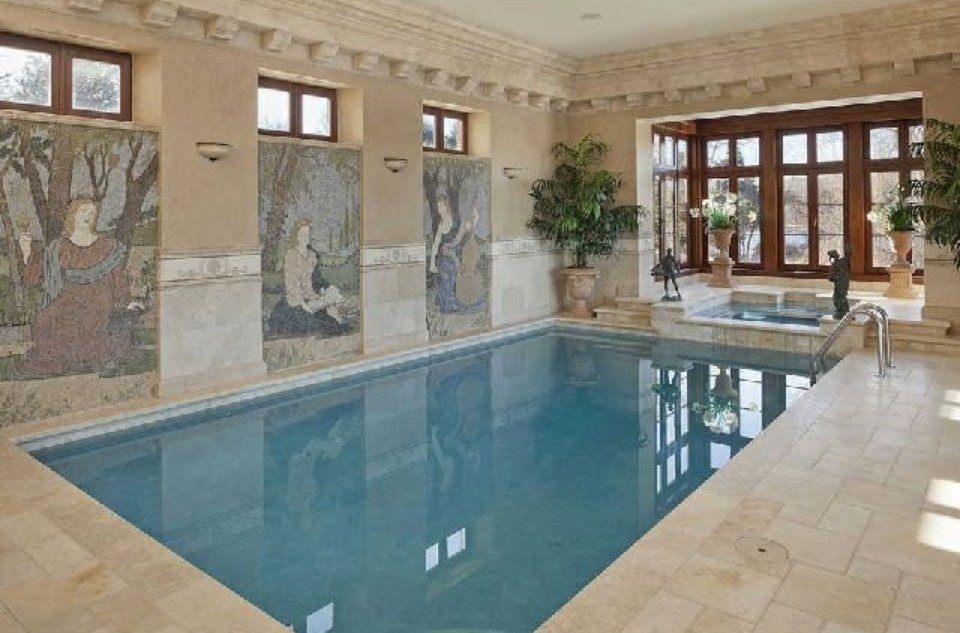Fit for a queen indoor pool with wall murals and Jacuzzi is center of home shaped like an X