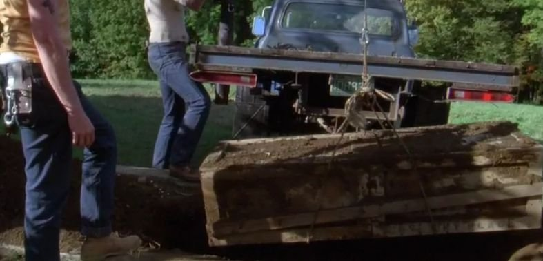 Corpse in the garden Funny Farm movie scene