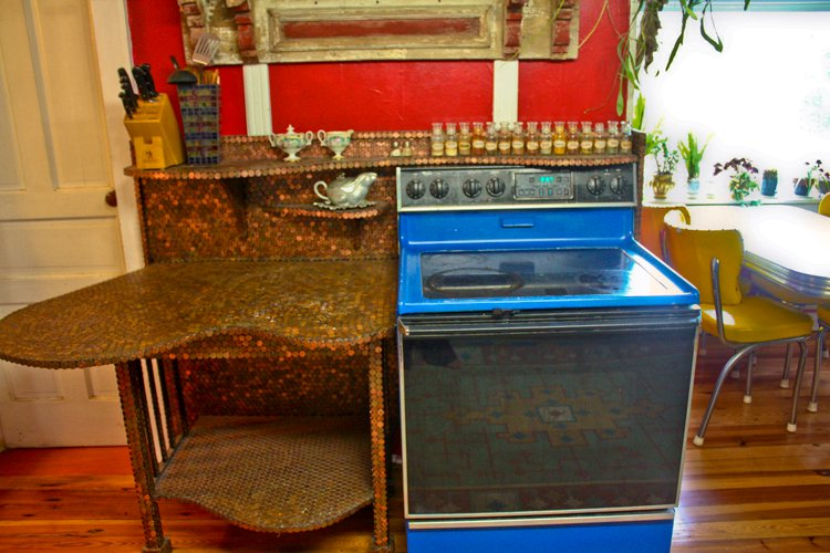 Calico house - counter built out of pennies instead of granite