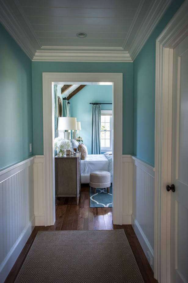 HGTV Dream Home hallway to the turquoise bedroom