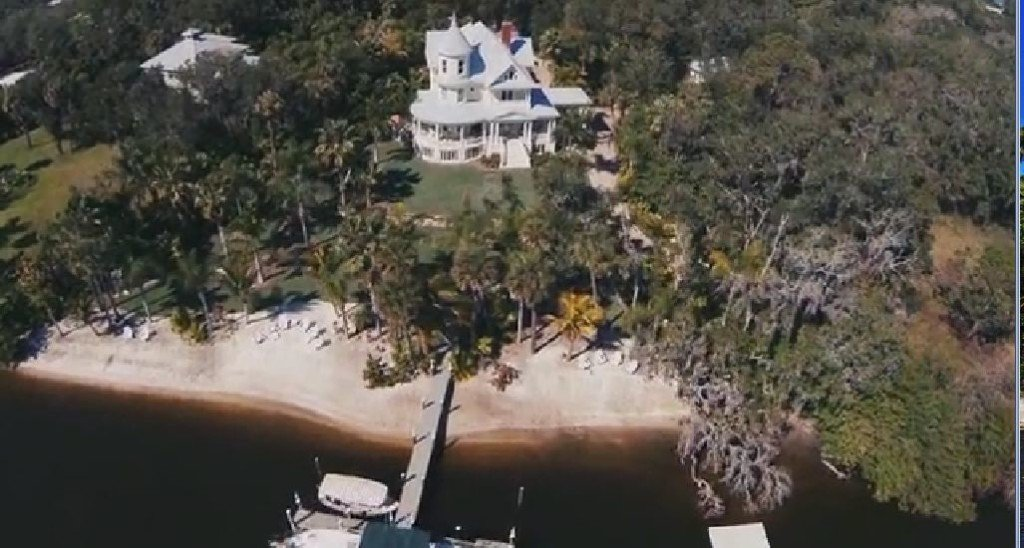 Lamb Manor property in Florida has a private beach, lagoon, Manor house and guest house