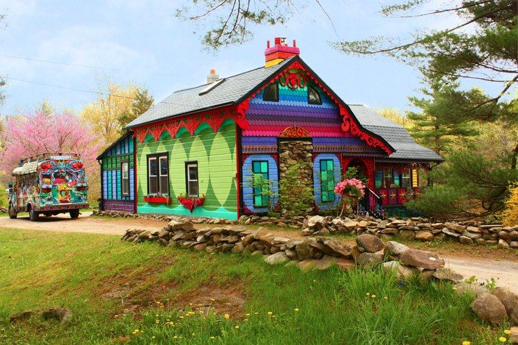 the whimsical rainbow house that sweaters built. Black Bedroom Furniture Sets. Home Design Ideas