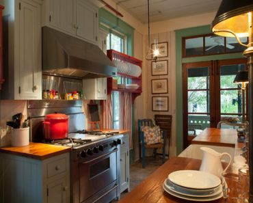 beach-style-kitchen inside Fish Camp Beach Cottage