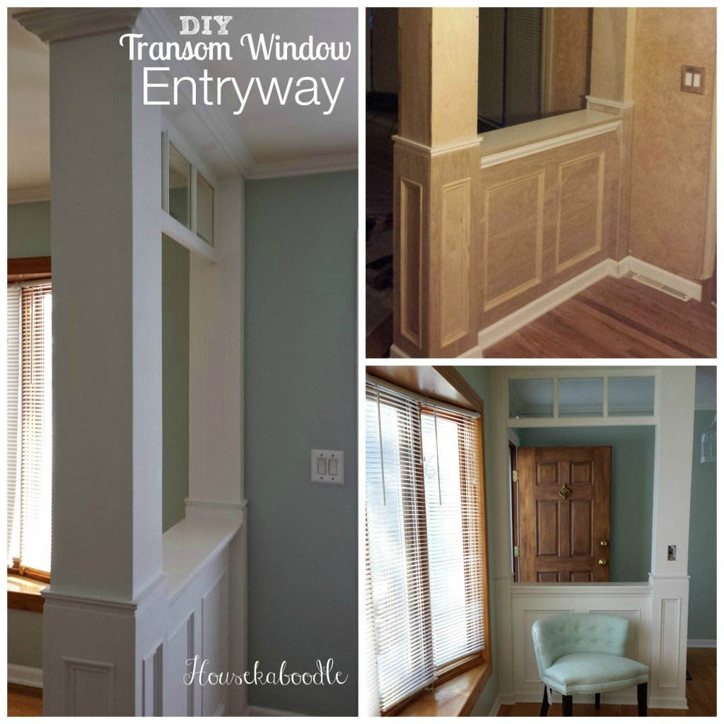 Housekaboodle - Before and After DIY Tansom Window Entryway was built from scratch. It's so nice to have an entryway. The paint color is Palladian Blue