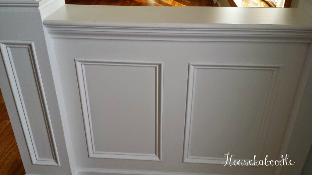 Houekaboodle - DIY Entryway half wall after is painted white and looks great against the BM Palladian Blue walls
