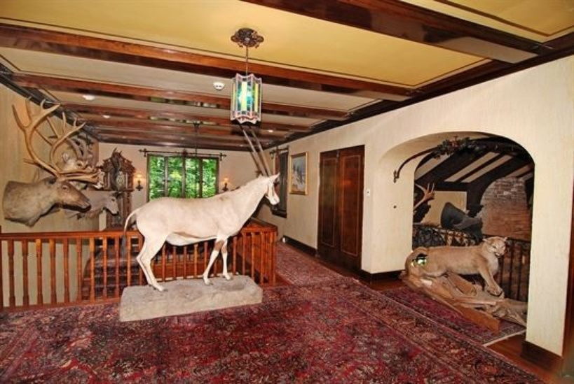 Charming stone cottage in Lake Forest for sale that has a lot of taxidermy animals inside
