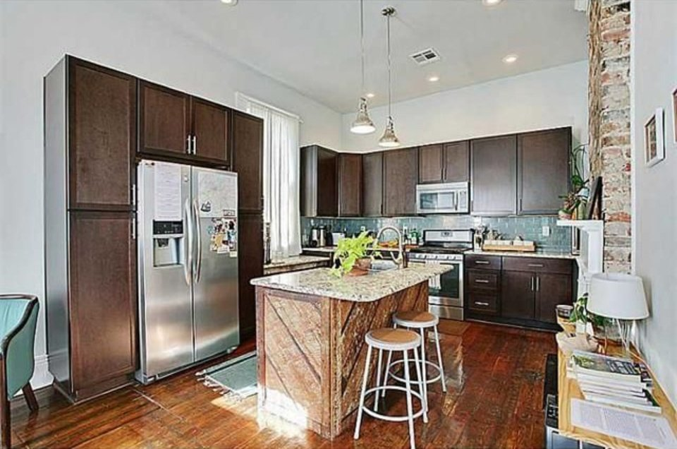 Modern kitchen inside New Orleans LA house