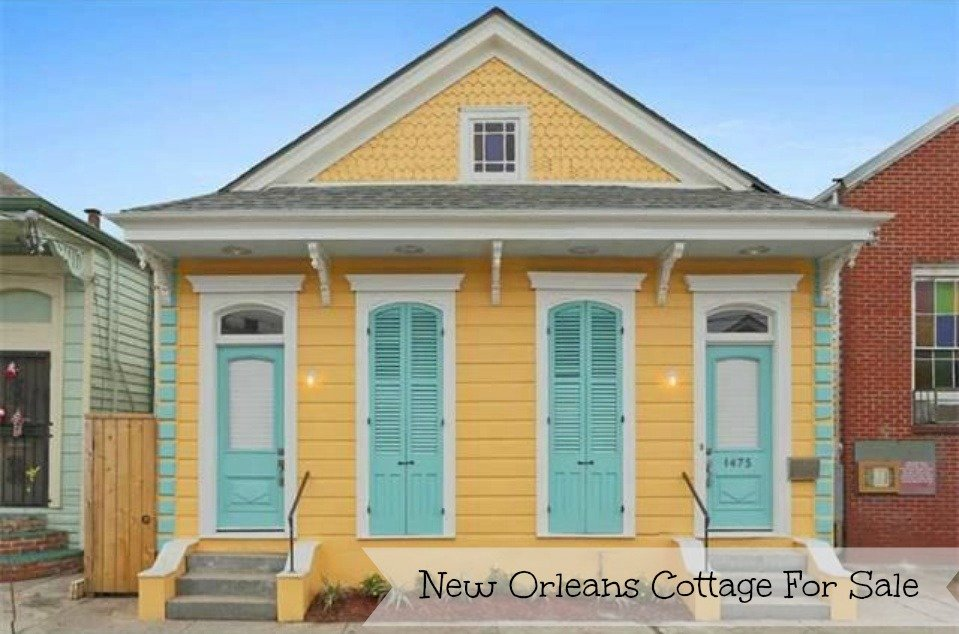 New Orleans Cottage For Sale Is Bright Yellow And Blue on french country house plans