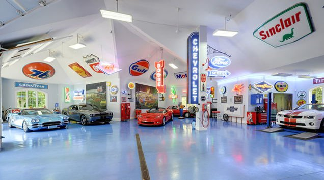 Old Garage Man Cave : Car collectors garage inside this old world mansion