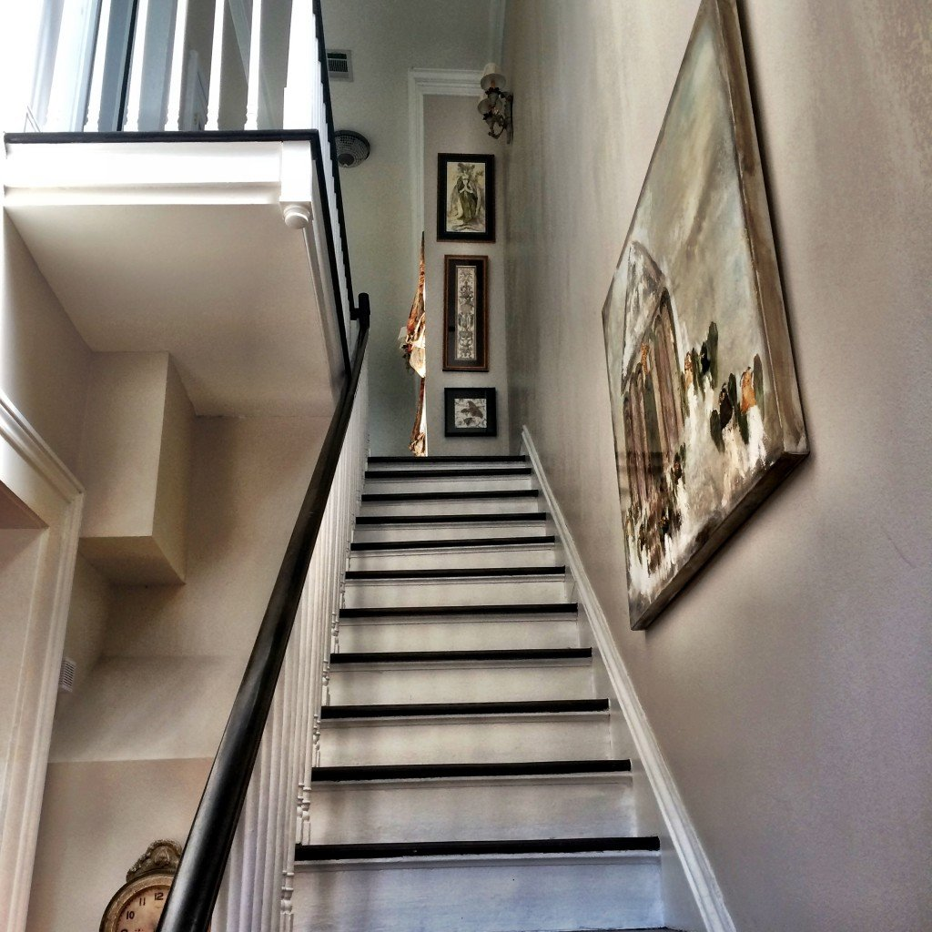 looking up stairs inside Greek Revival town house