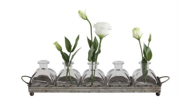 5 Glass Vases in Grey Iron Base Bse is 16 inches long and 3.5 inches high