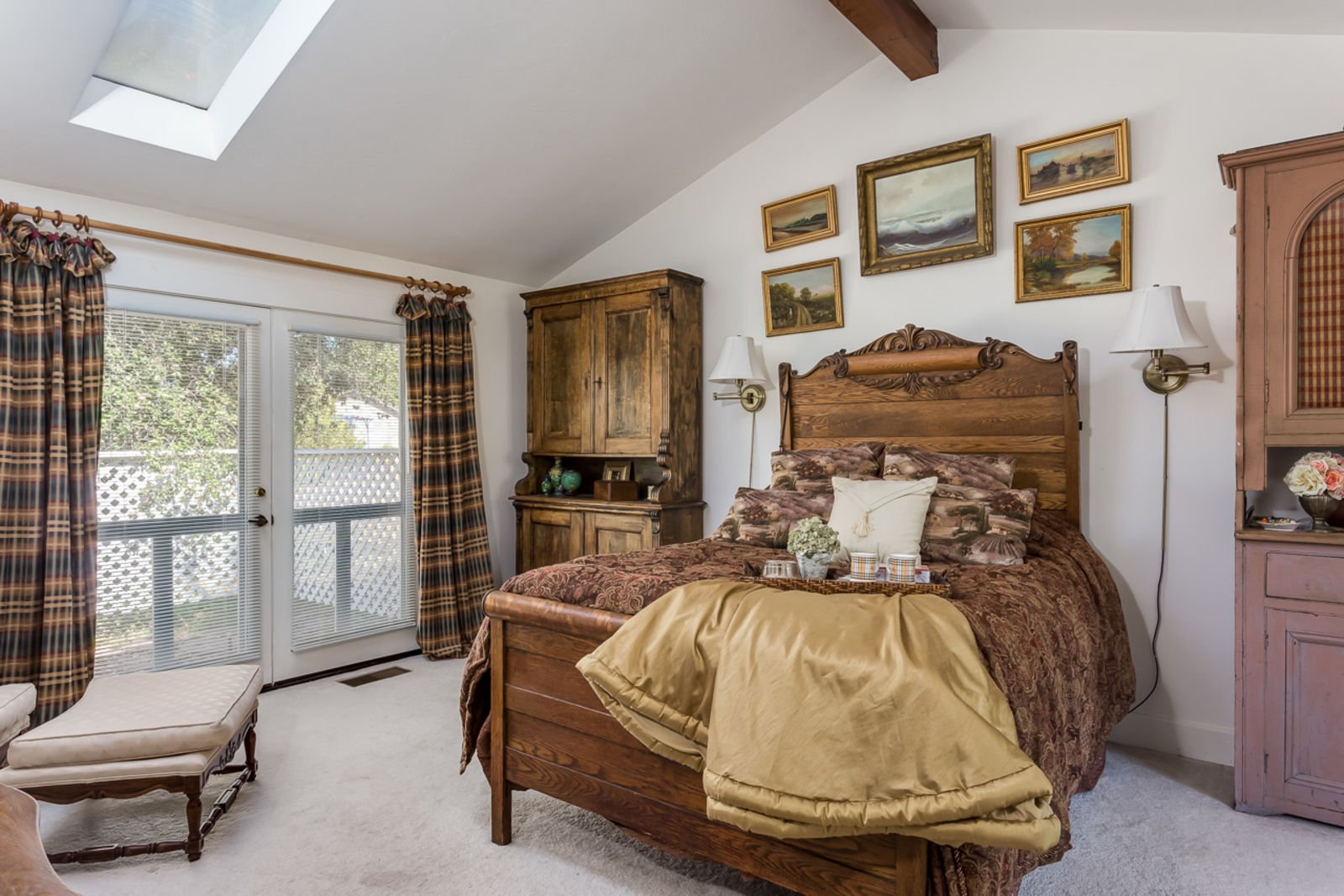 Adobe home on Fruitvale RD Valley Center CA -Master Bedroom has two sets of french doors opening to patio and gardens