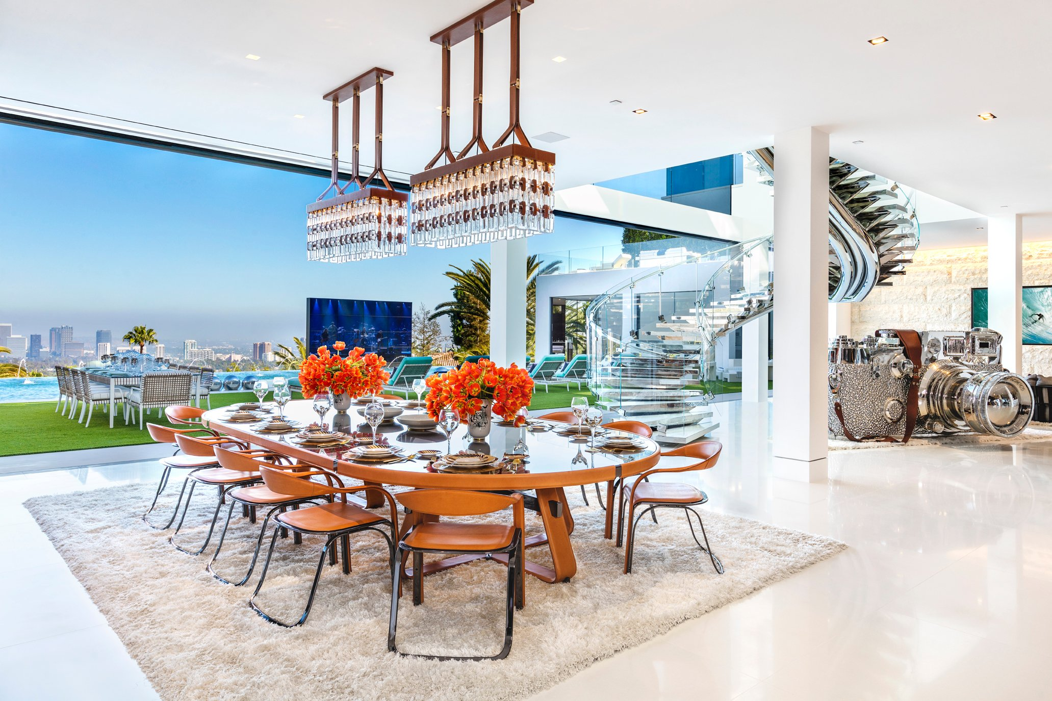 America's Most Expensive Home Luxury Dining Room and glass staircase