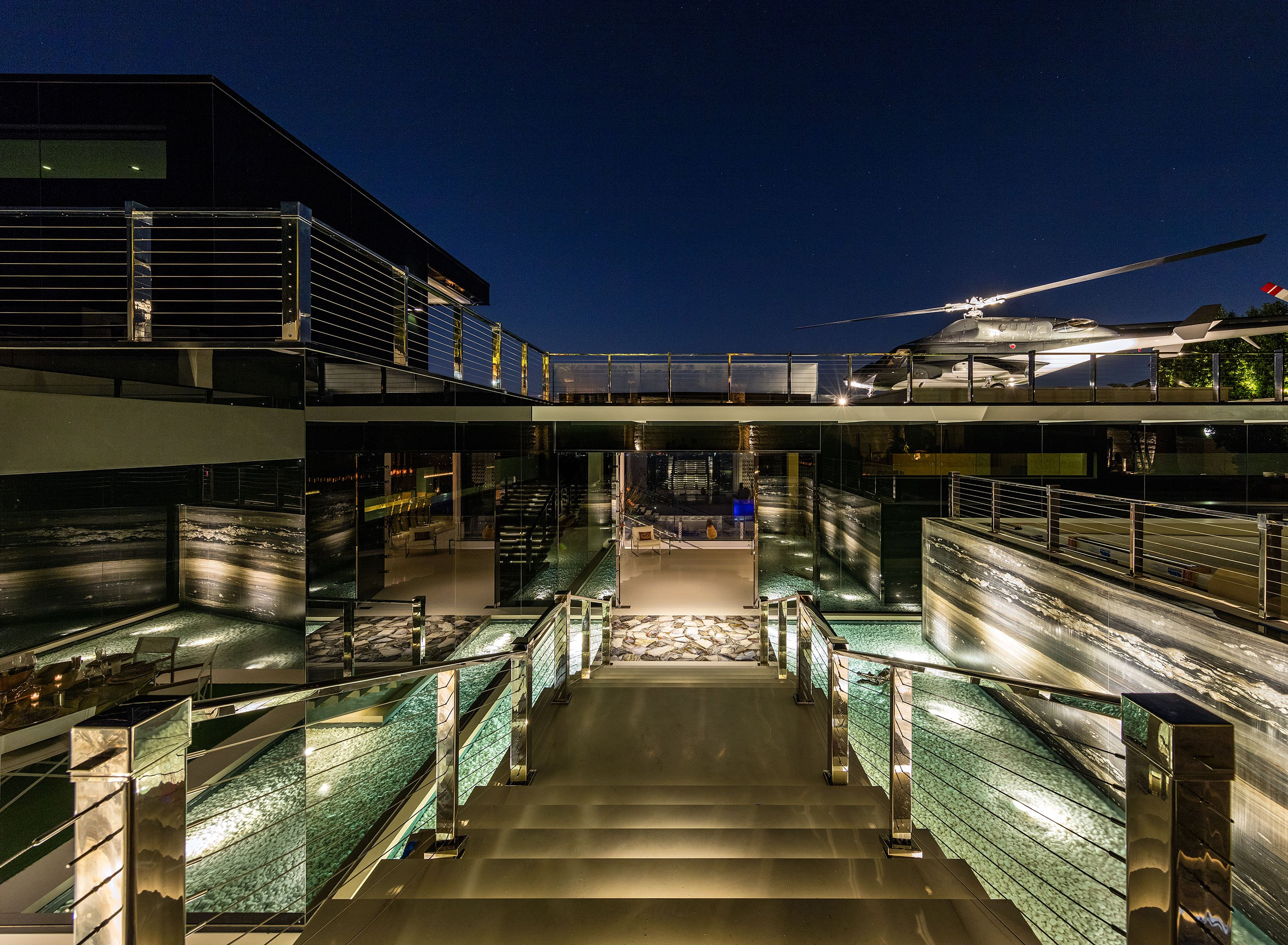 America's Most Expensive Home Entrance night view