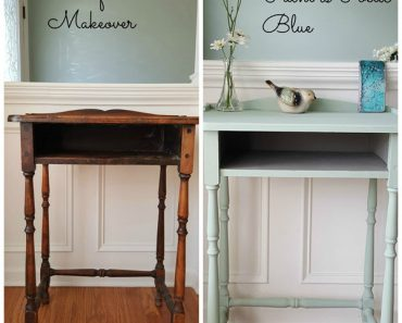 Antique Table Gets A Paint Makeover in Beautiful Poetic Blue 3