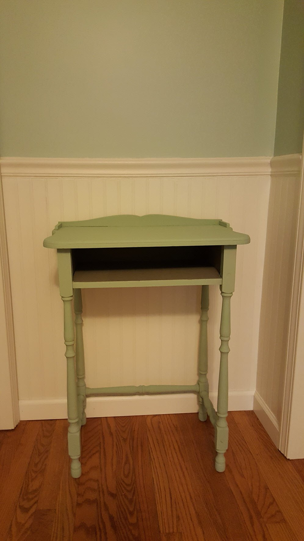 Antique table painted poetic blue by Pure and Original- Antique Table Gets A Paint Makeover in Beautiful Poetic Blue