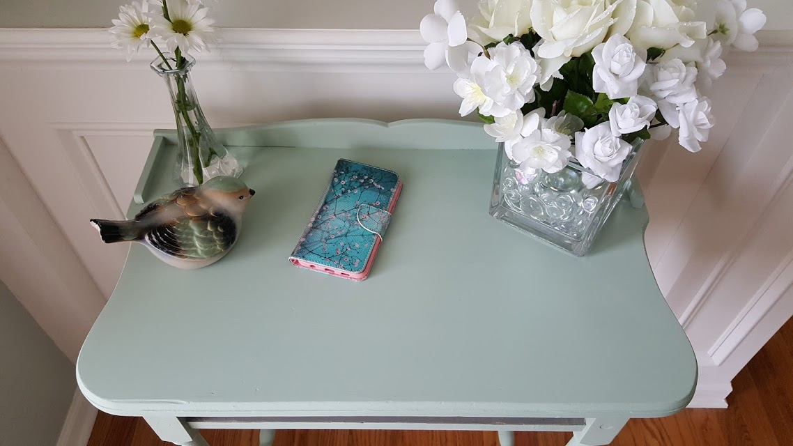 Before and After Renew an Antique table by repainting it a beautiful poetic blue by Pure & Original Classico Paints