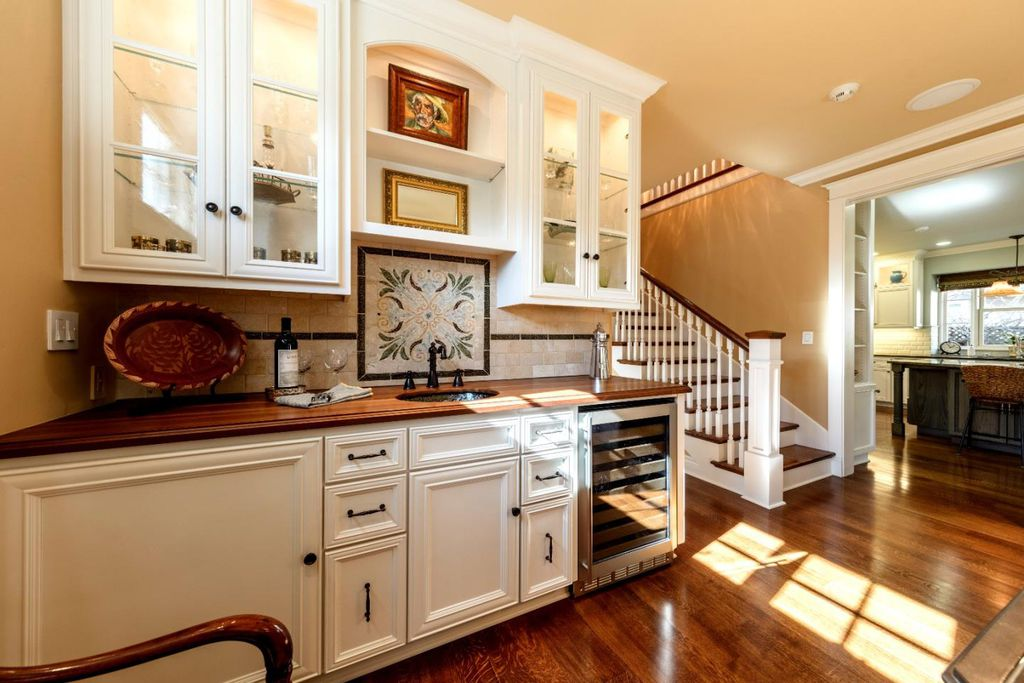 Beautiful built-in beverage area in this stunning traditional home for sale in Los Gatos