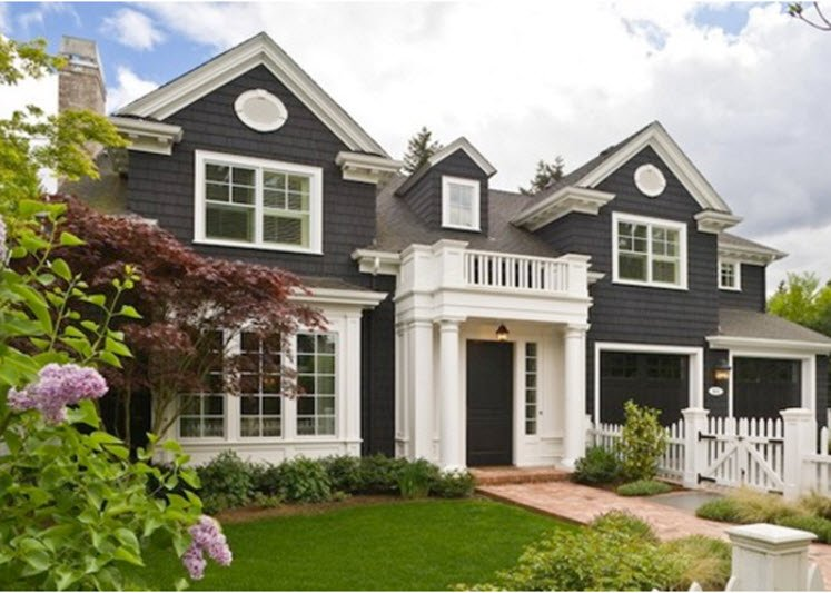 Black houses home exterior paint ideas - Exterior white trim paint pict ...