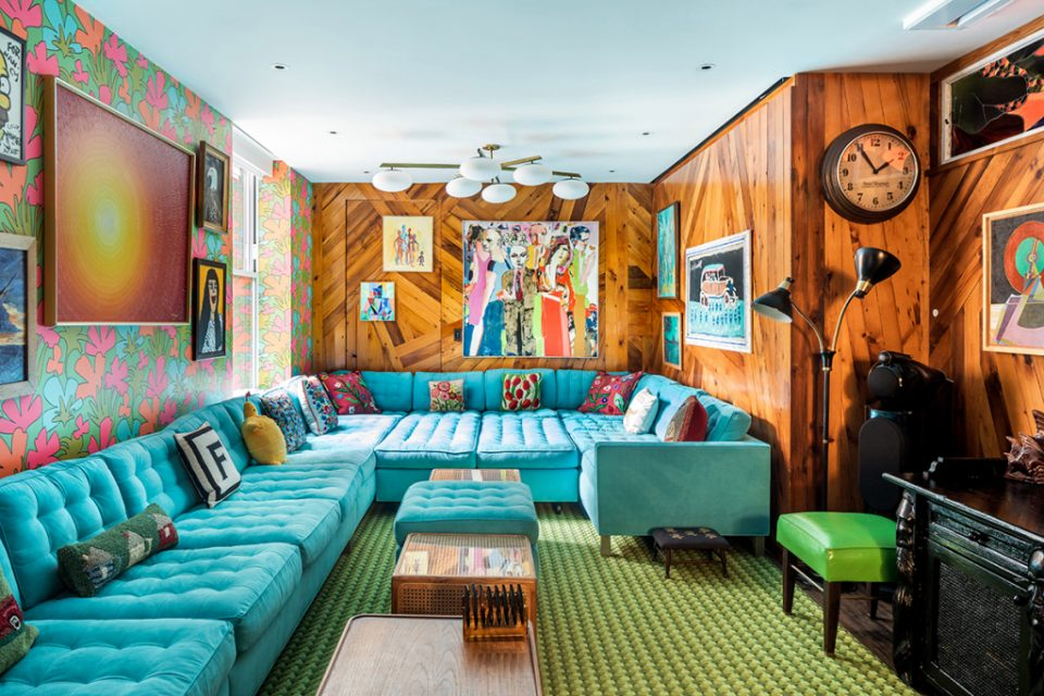 Fun brightly colored family room for kids and adults.