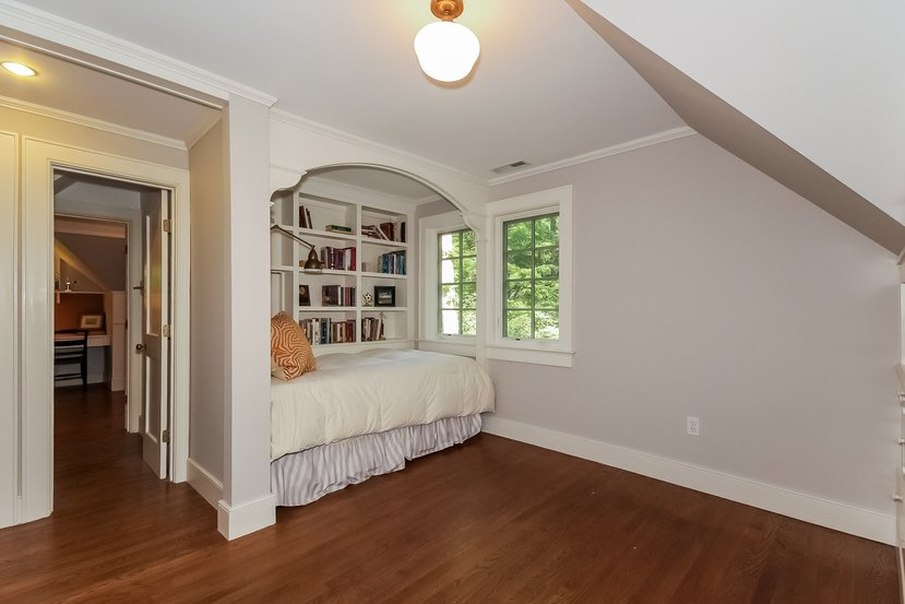 Built-in bed with book shelves comes with this Craftsman for sale in Connecticut - I'd love a bedroom like this in my house.
