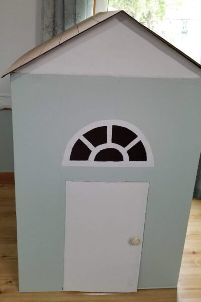 Cardboard Playhouse made out of washer and dryer boxes