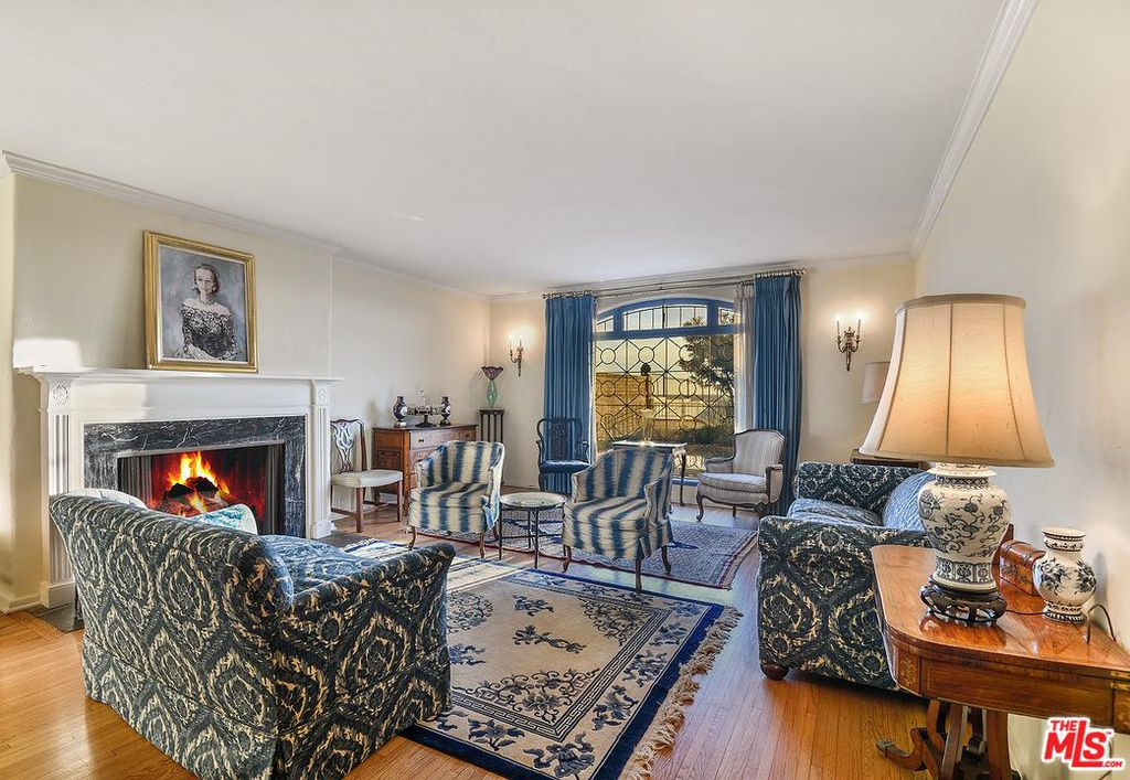 Cary Grant beach house in Santa Monica for sale -living room - own a piece of Hollywood history. The house is French Normandy style