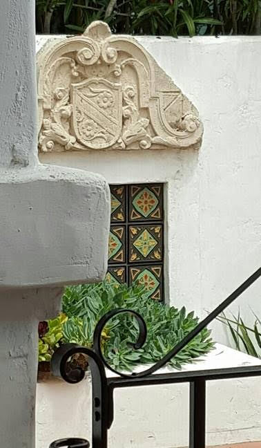 Cement Cartouche salvaged to beautify beloved Spanish style home fixer upper