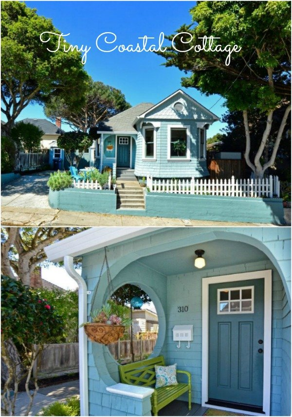 Charming Remodeled Tiny Coastal Cottage Pacific Grove CA I love the circle cut-out on the side of the front porch and this little blue house has a lot of room for a tiny house.