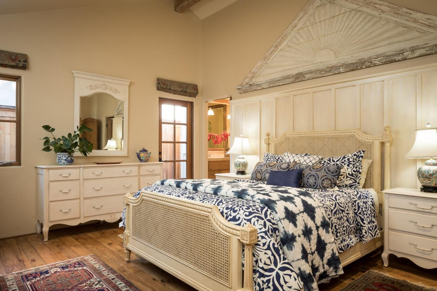 Classic Board and Batten Cottage in Carmel-by-the-Sea for sale -Bedroom with beautiful architectural wall adornment